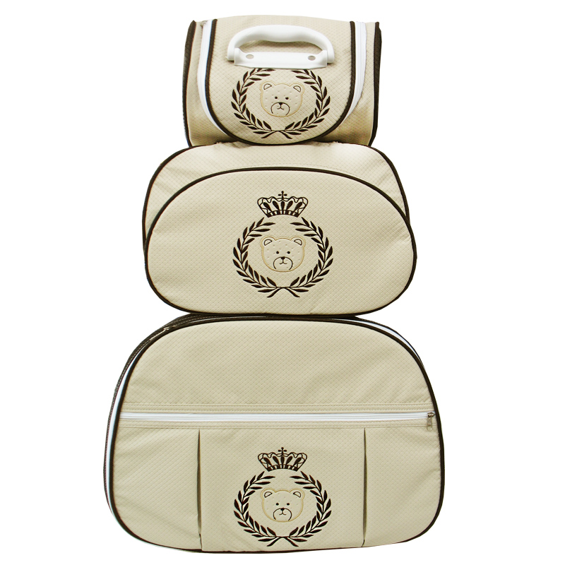 Kit de Bolsa Maternidade Urso Coroa e Ramo Palha com Marrom nas Laterais 3 peças + Brinde