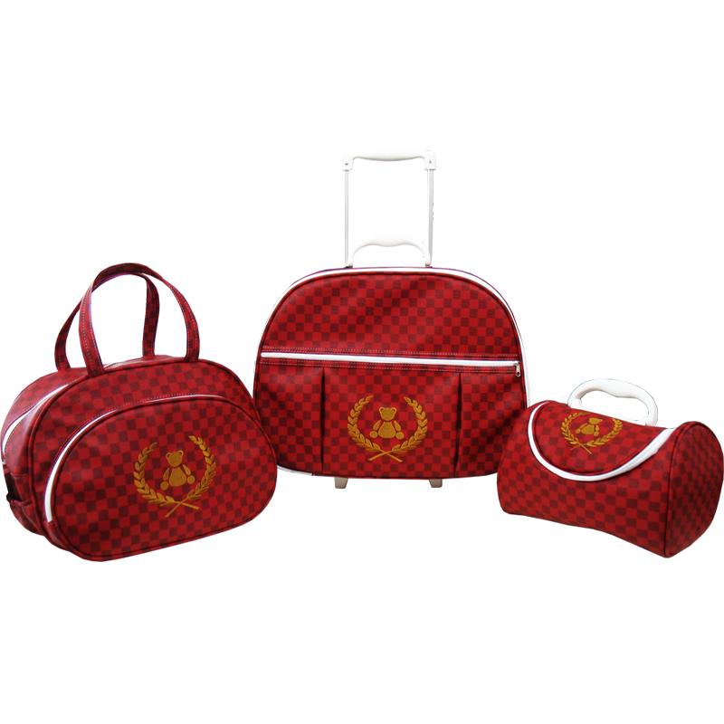 Kit de Bolsa Maternidade Thed Xadres Vermelho 3 peças