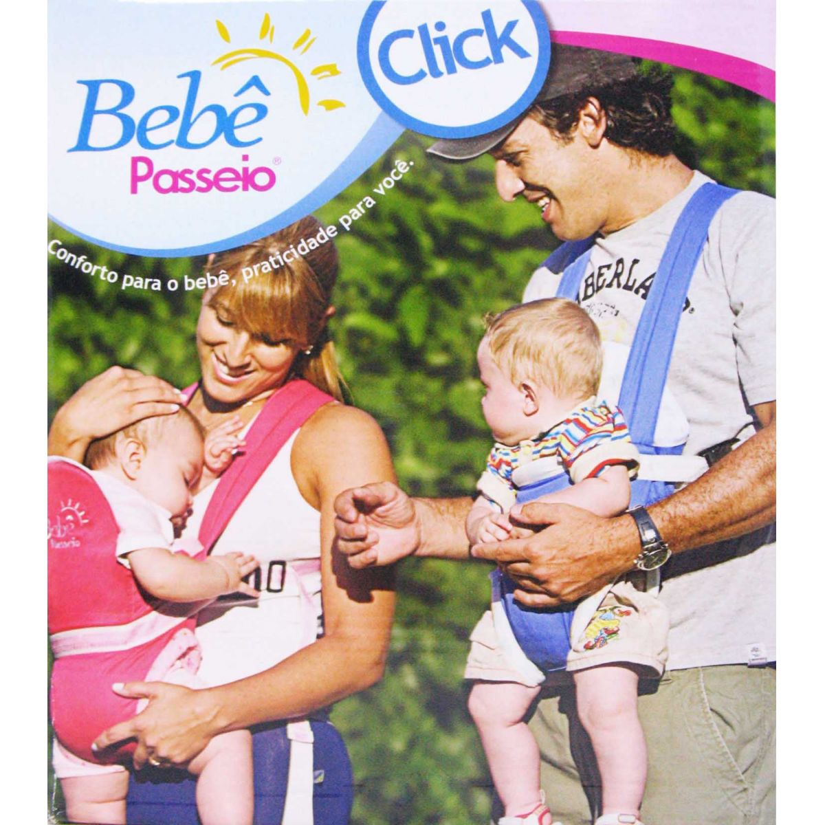 Canguru Bebê Passeio  Jeans com Xadrez