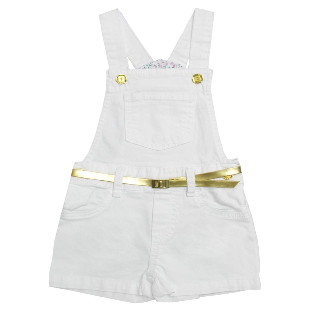 Jardineira Jeans Branco com Cinto Dourado