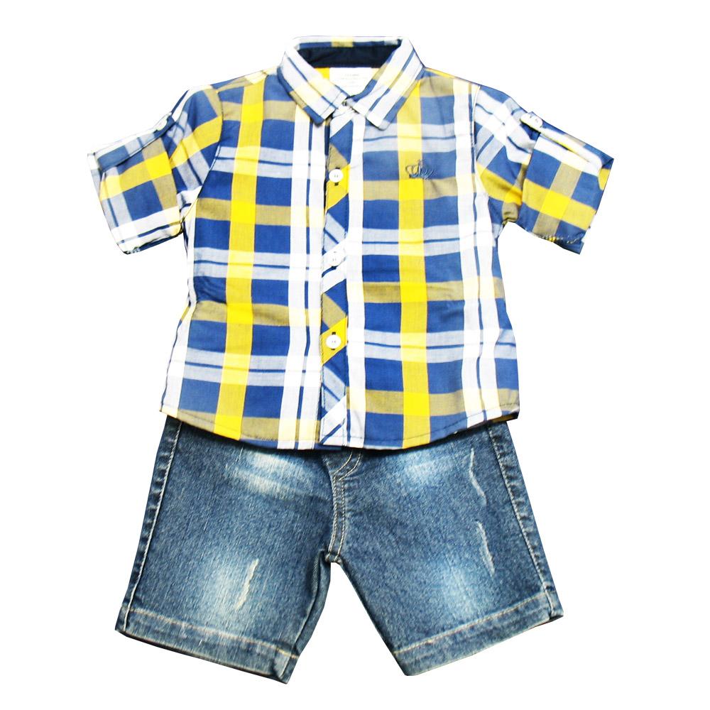 Conjunto  Ópera Kids com Camisa Xadrez - 3 peças