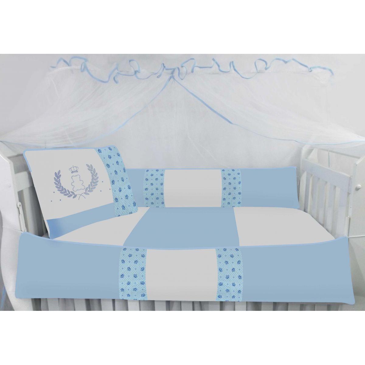 Kit Berço Baby 9 peças - Urso Coroa Azul