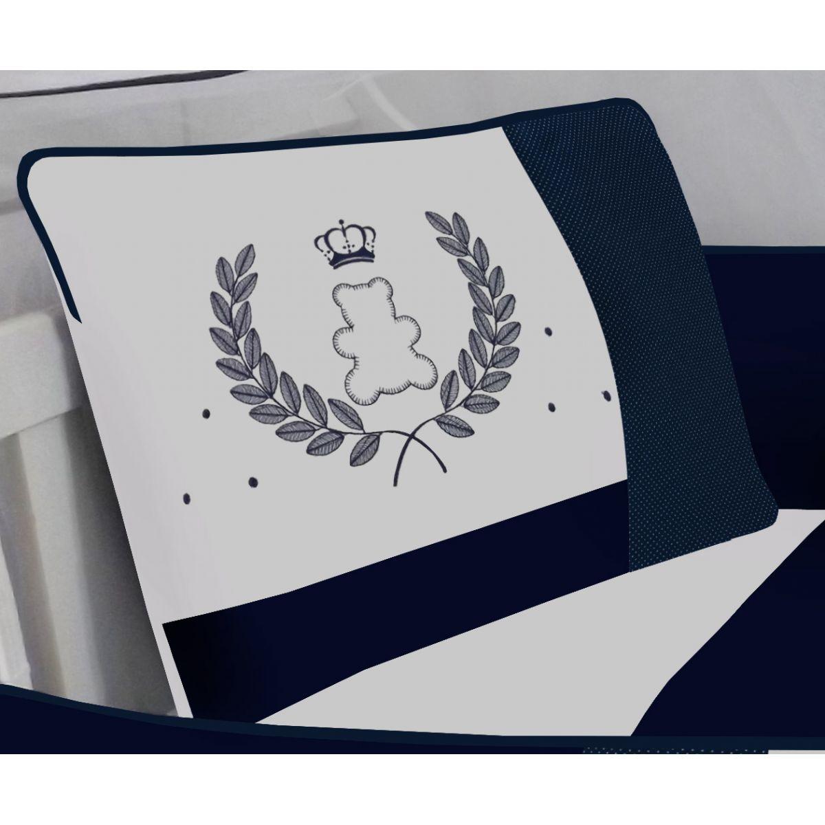 Kit de Berço Urso Coroa Marinho  09 peças 100% Algodão Padrão Americano