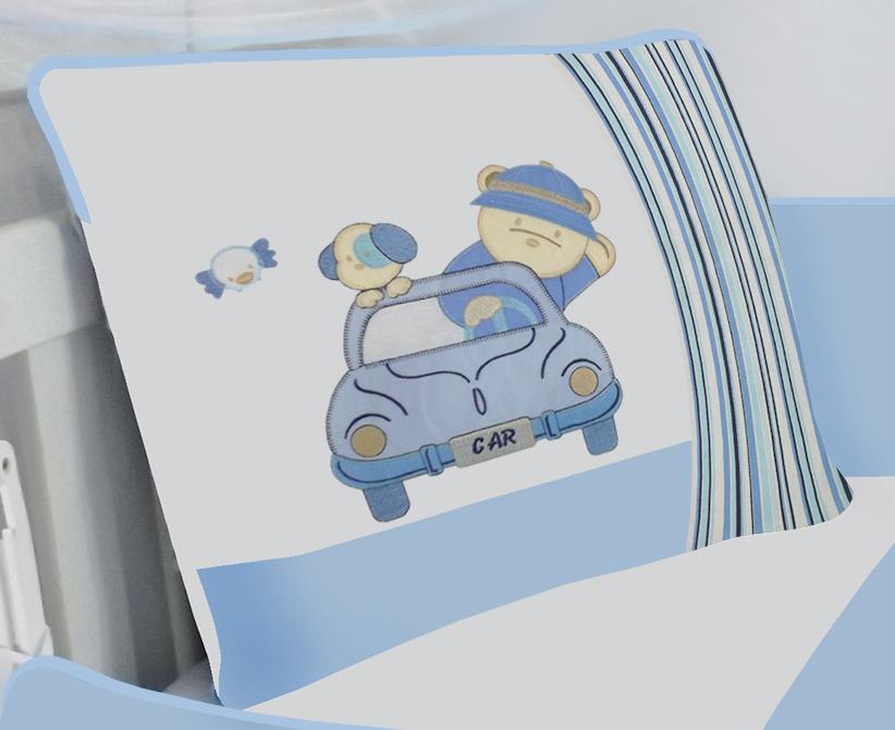 Kit de Berço Carro Azul  09 peças 100% Algodão Padrão Americano