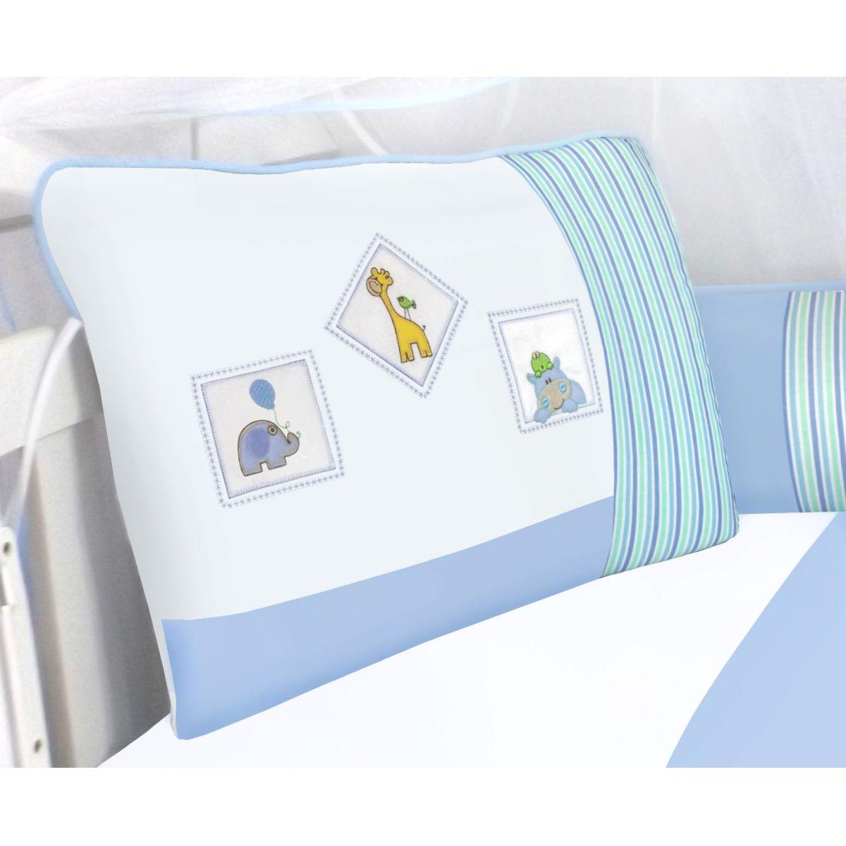 Kit de Berço Bichinhos Azul  09 peças 100% Algodão Padrão Americano