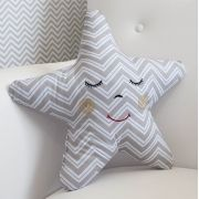 Almofada Decorativa Estrela - Chevron Azul