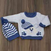 Blusa Azul Urso com Touca