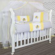Kit Berço Baby 9 peças - Elefante Chevron Amarelo