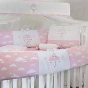 Kit de Berço Glamour Chuva de Benção Rosa 10 peças 100% Algodão Padrão Americano