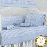 Kit de Berço Glamour Gael Listrado Azul Bebê 10 peças 100% Algodão Padrão Americano