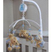Móbile Musical - Ursinhos Xadrez Azul Bebê