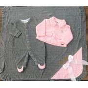 Saída de Maternidade Cinza e Rosa de Plush