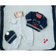 Saída de Maternidade de Linho e Plush com Gorro Gatinho  Azul Marinho