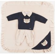 Saída de Maternidade de Linho Raposinha Azul Marinho