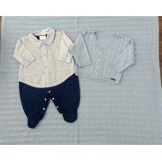 Saída de Maternidade Malha e Linho Azul