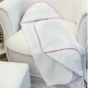Toalha de Banho c/ Capuz Bordado - Ursa Ted Rosa