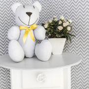 Ursinho  - Piquet Branco com Laço Amarelo