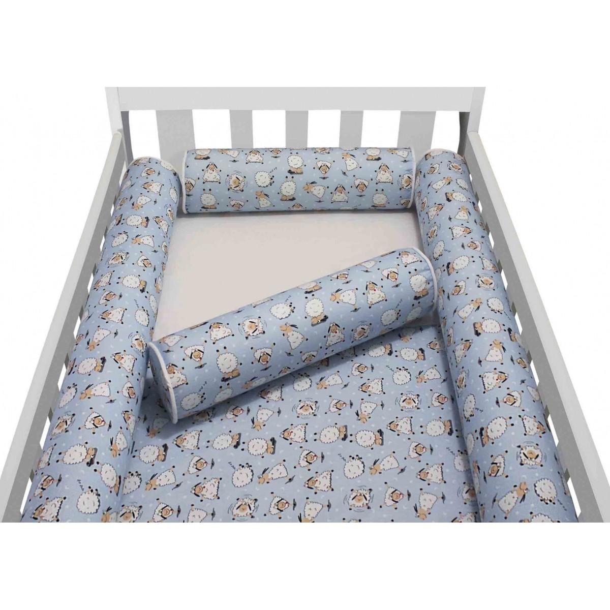 Kit de Berço Rolinhos Ovelha Azul 4 peças