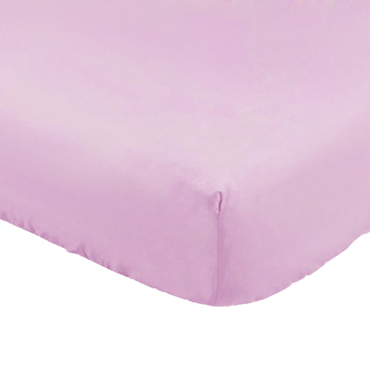 Lençol com Elástico para Mini Berço Rosa