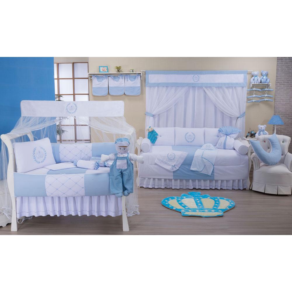 Quarto Completo Realeza Azul Bebê 35 peças 100% Algodão Padrão Americano