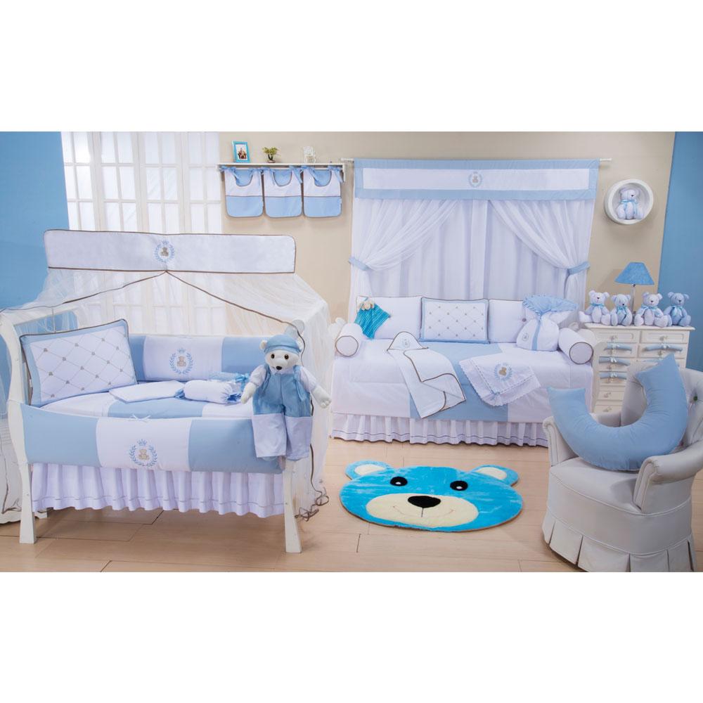 Quarto Completo Thed Azul Bebê 36 peças 100% Algodão Padrão Americano