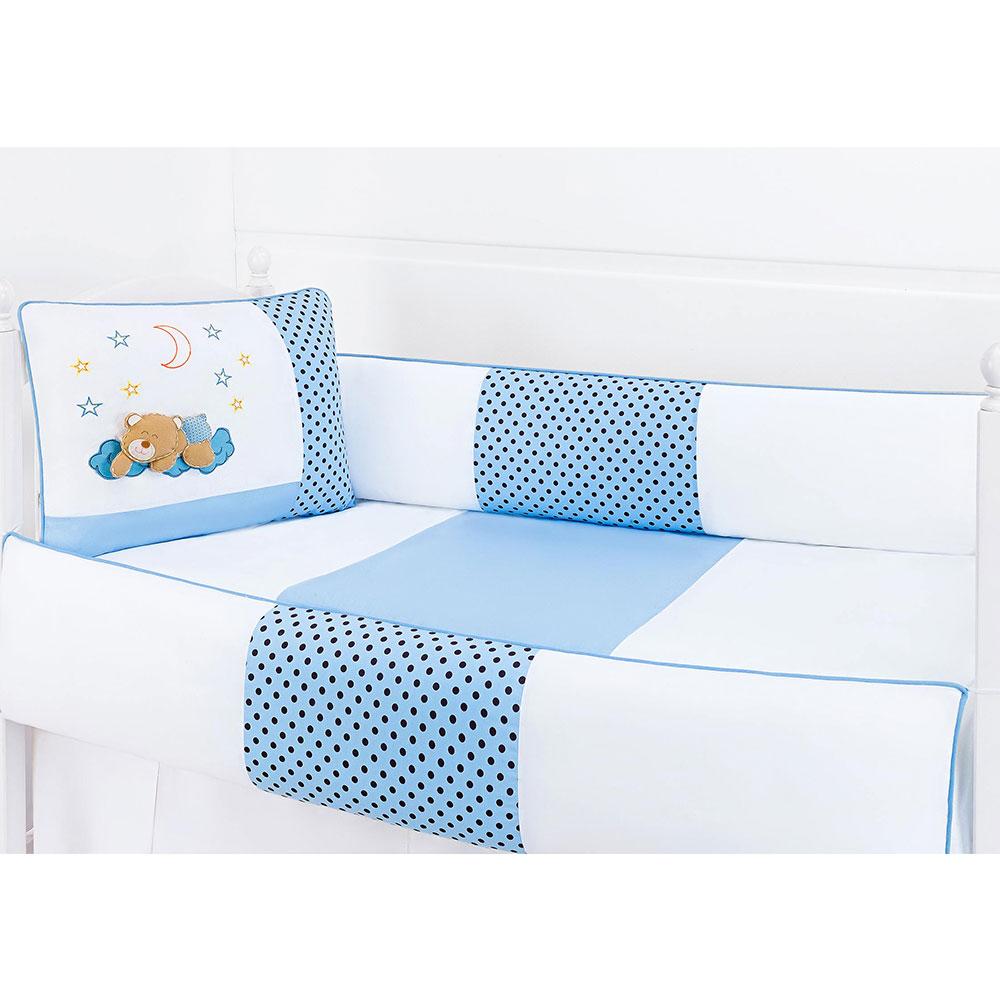 Kit de Berço Soninho Azul 9 peças 100% Algodão Padrão Americano