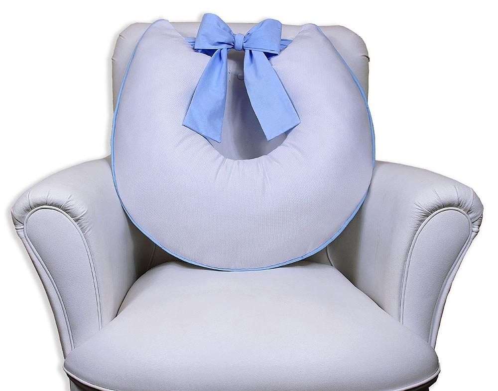 Almofada de Amamentação com Laço - Branca com Azul