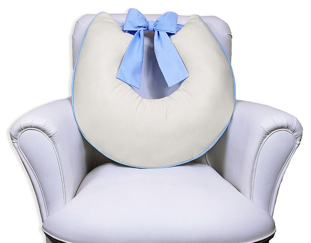 Almofada de Amamentação com Laço - Palha com Azul