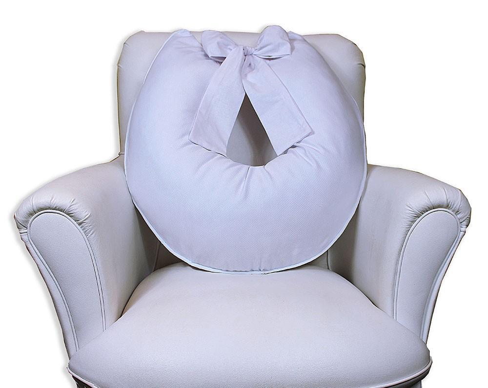 Almofada de Amamentação com Laço - Piquet Branca