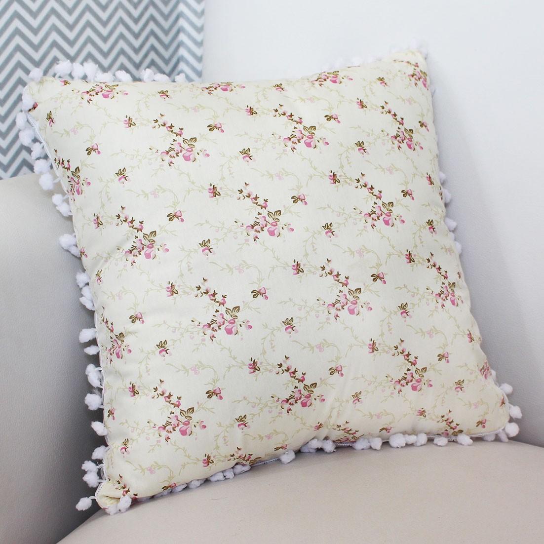 Almofada Decorativa Estampada Nervura Floral Rosa
