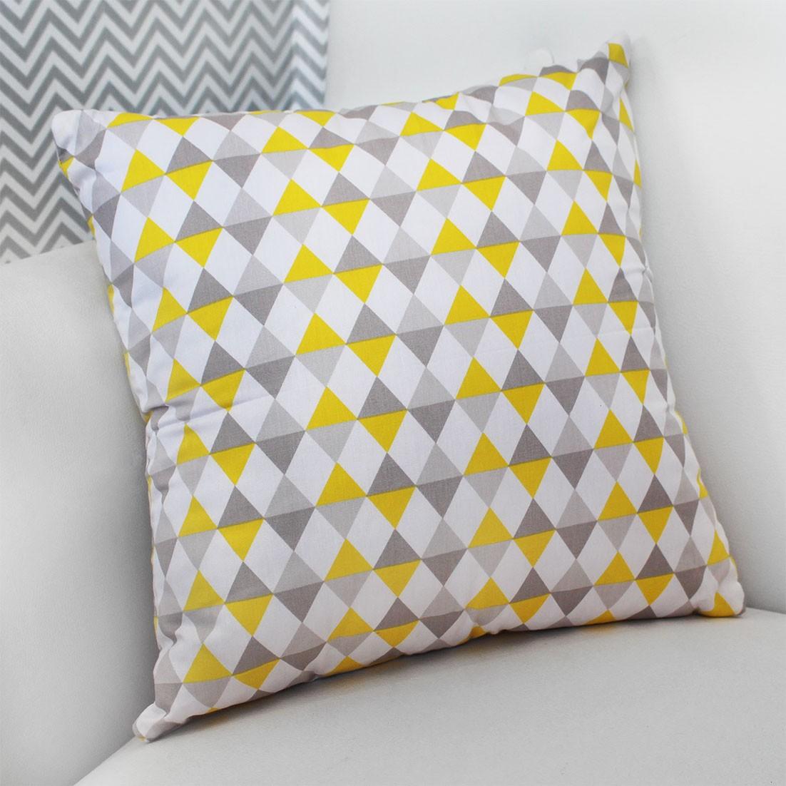 Almofada Decorativa Estampada Losango Amarelo