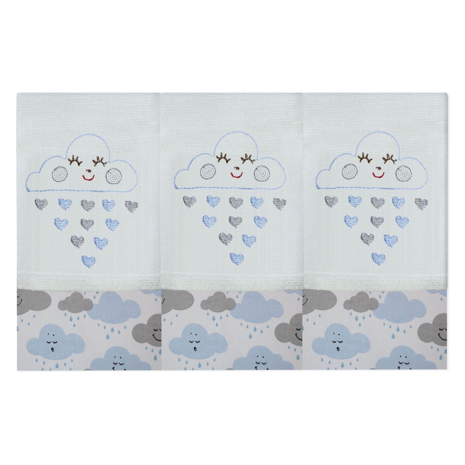 Babete Bordada 03 Pçs - Chuva de Benção Azul