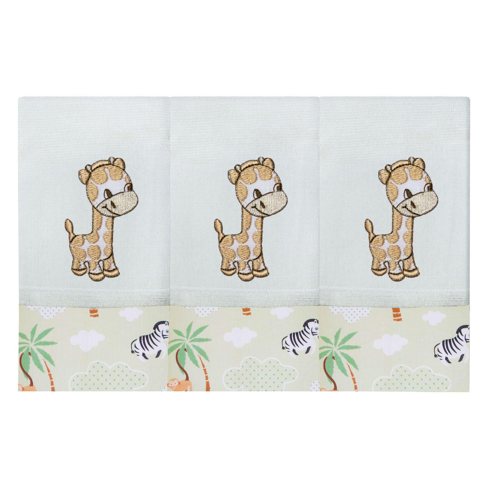 Babete Bordada 03 Pçs - Floresta Girafa