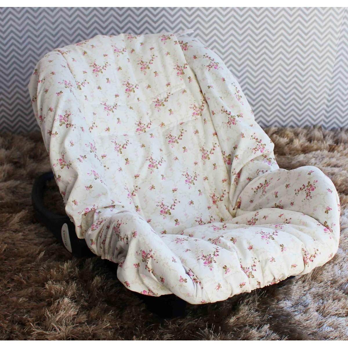 Capa de Bebê Conforto Adapt Nervura Floral  Rosa