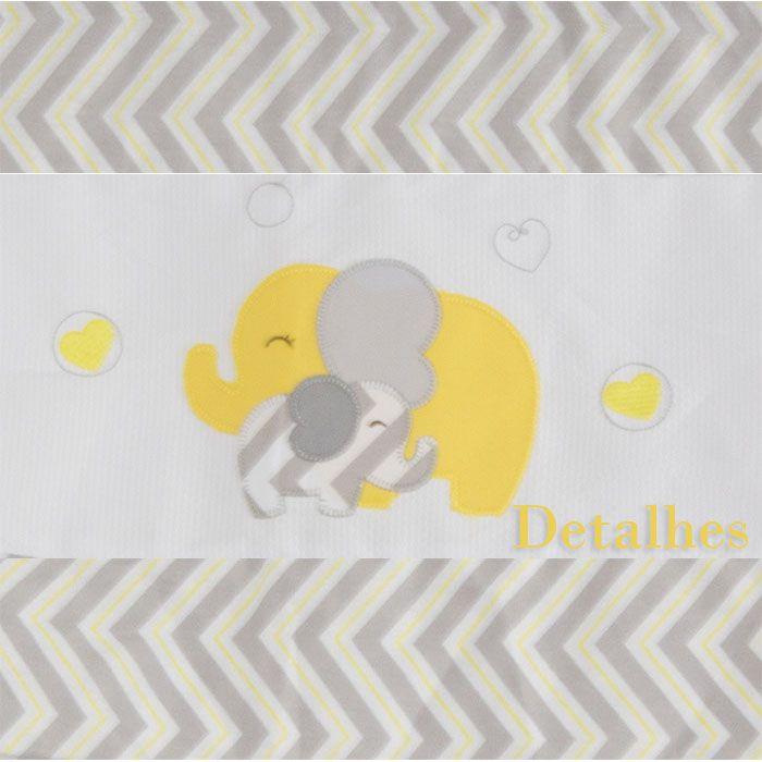 Cortina Bandô c/ Voil 1,75 Mts - Elefante Chevron Amarelo