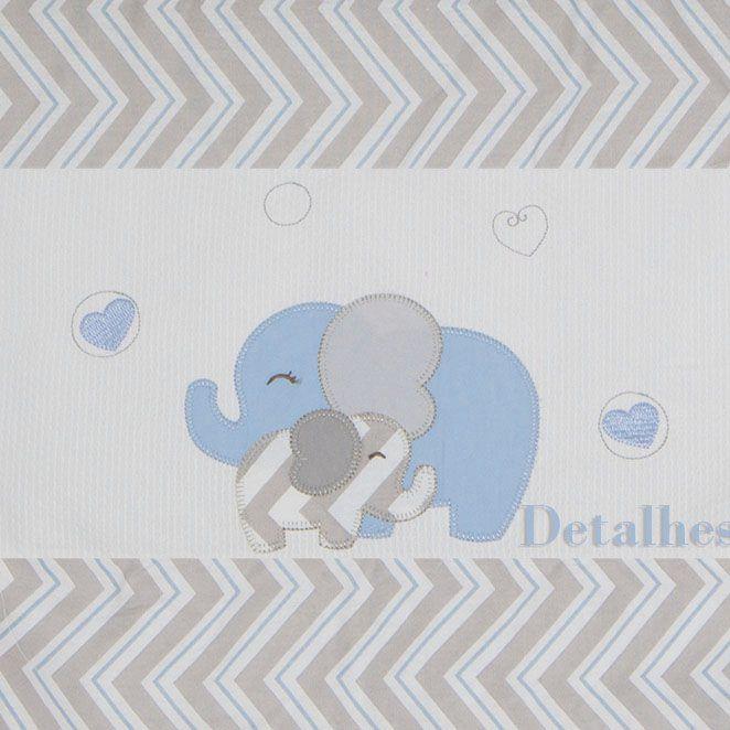 Cortina Bandô c/ Voil 1,70 Mts - Elefante Chevron Azul