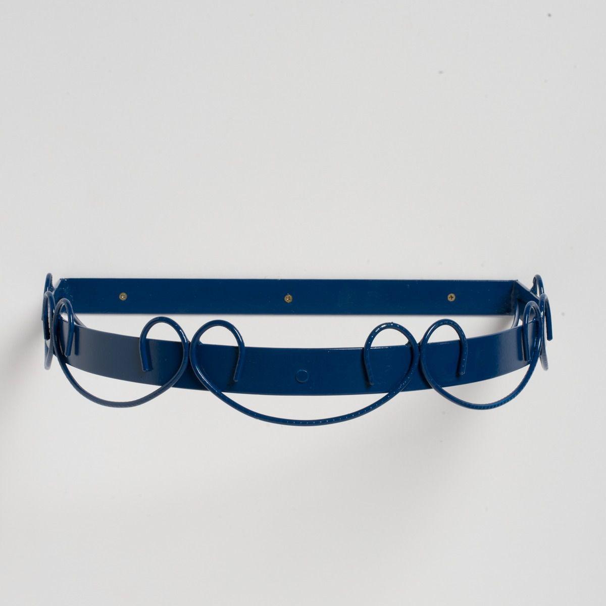 Dossel Arabesco Azul Marinho com Mosquiteiro de Voil Branco