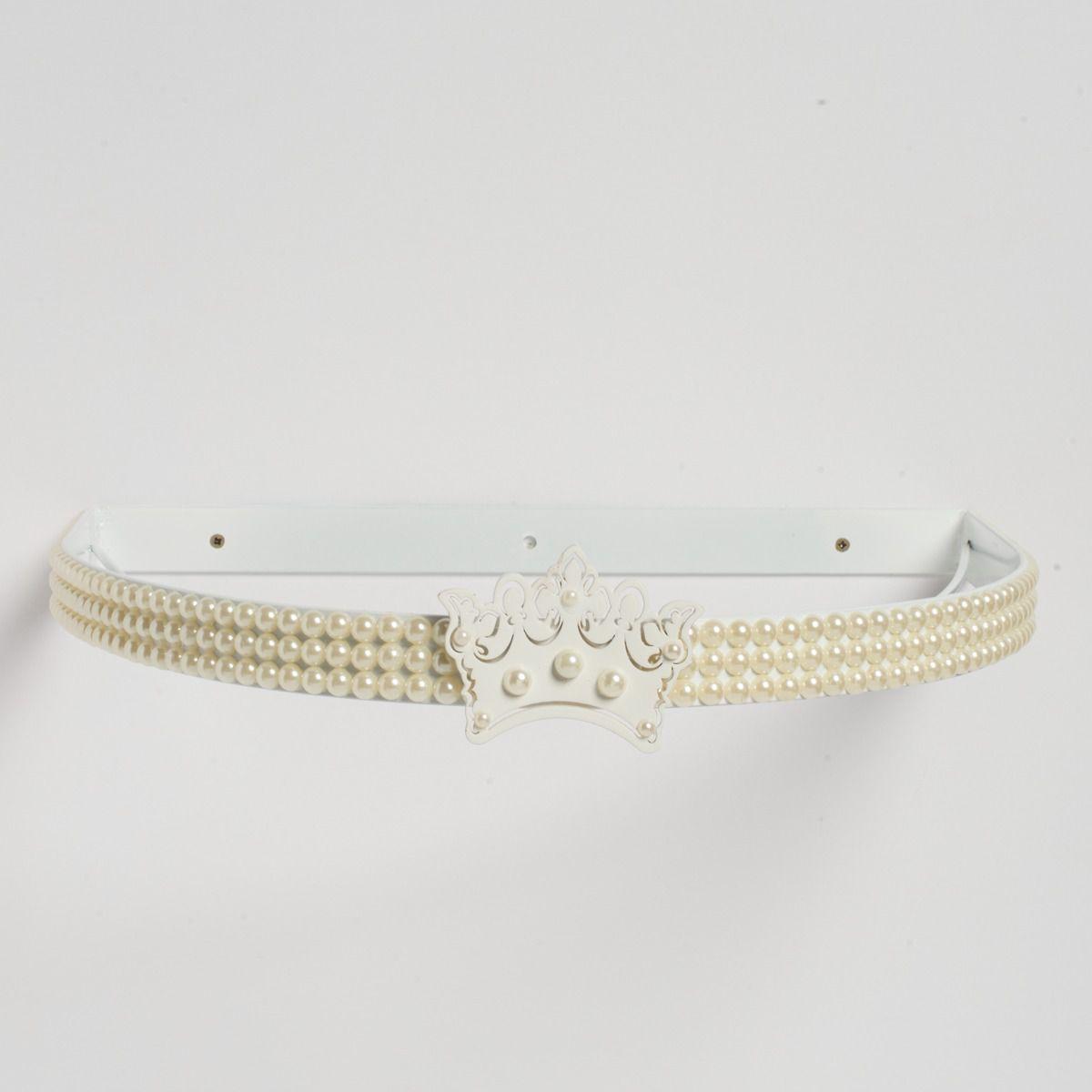 Dossel Coroa Pérola Branca com Mosquiteiro de Voil Branco
