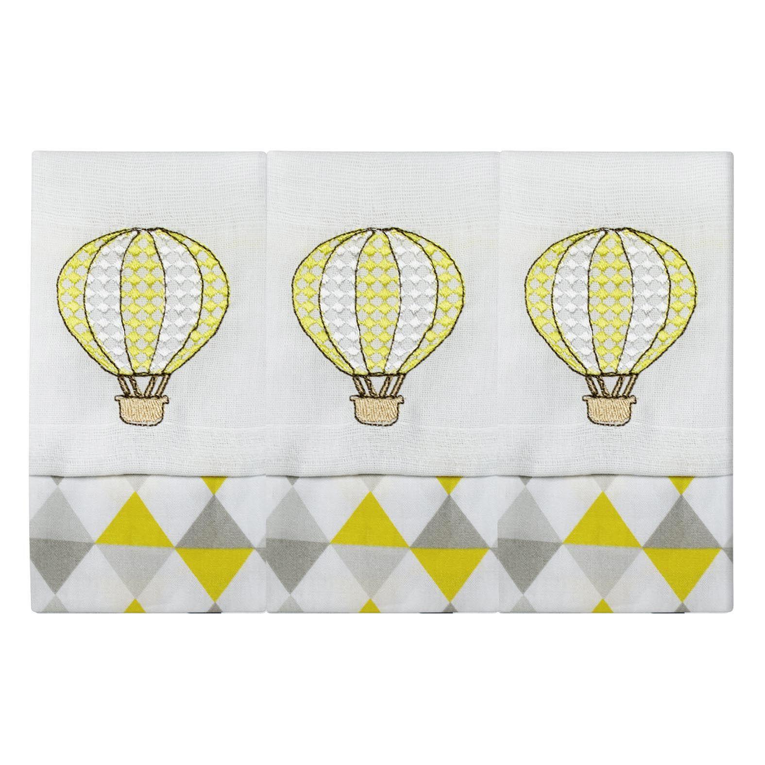 Fralda de Boca  03 Peças - Balão Amarelo
