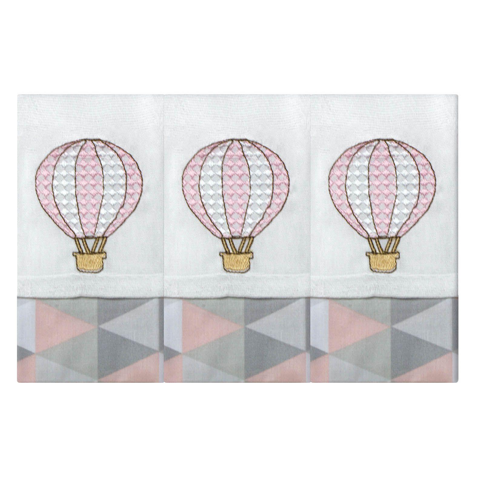 Babete Bordada 03 Pçs - Balão Rosa