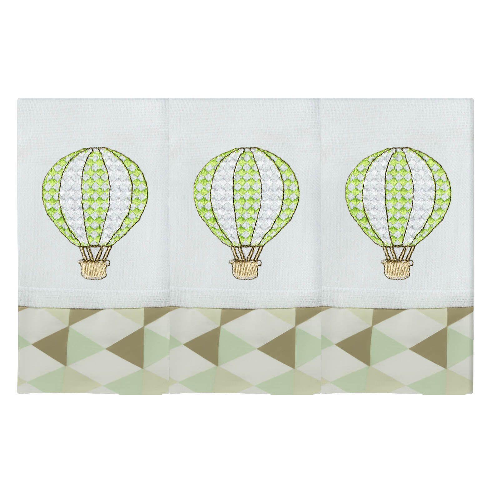 Babete Bordada 03 Pçs - Balão Verde