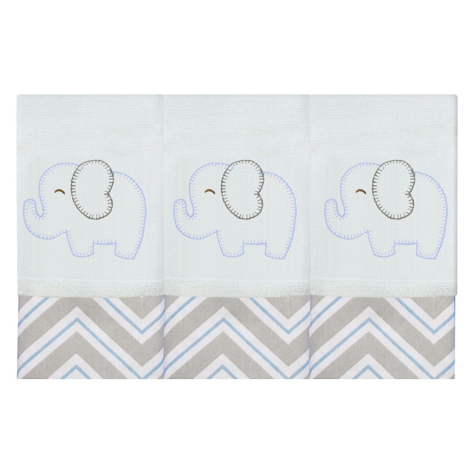 Babete Bordada 03 Pçs - Elefante Chevron Azul