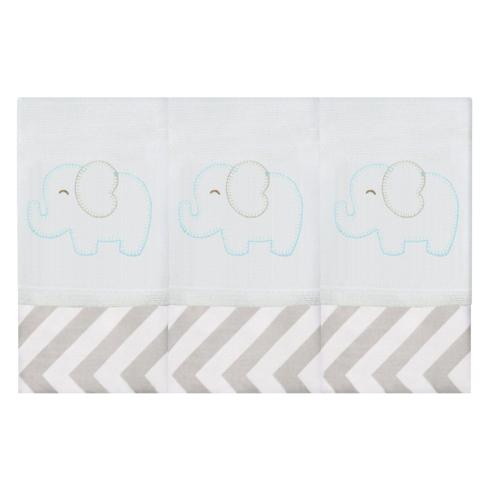 Babete Bordada 03 Pçs - Elefante Chevron Tiffany