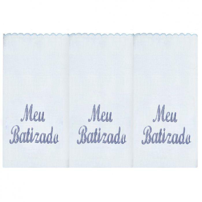 Fralda de Ombro 03 Peças - Meu Batizado Azul