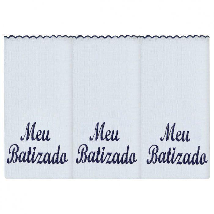 Fralda de Ombro 03 Peças - Meu Batizado Marinho
