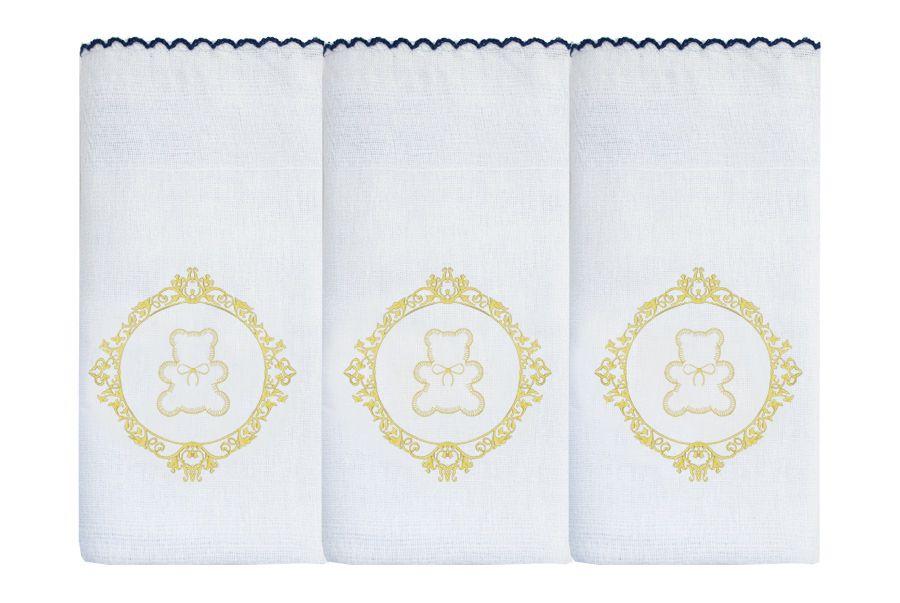 Fralda de Ombro Bord. 03 Pçs - Urso Arabesco Dourado
