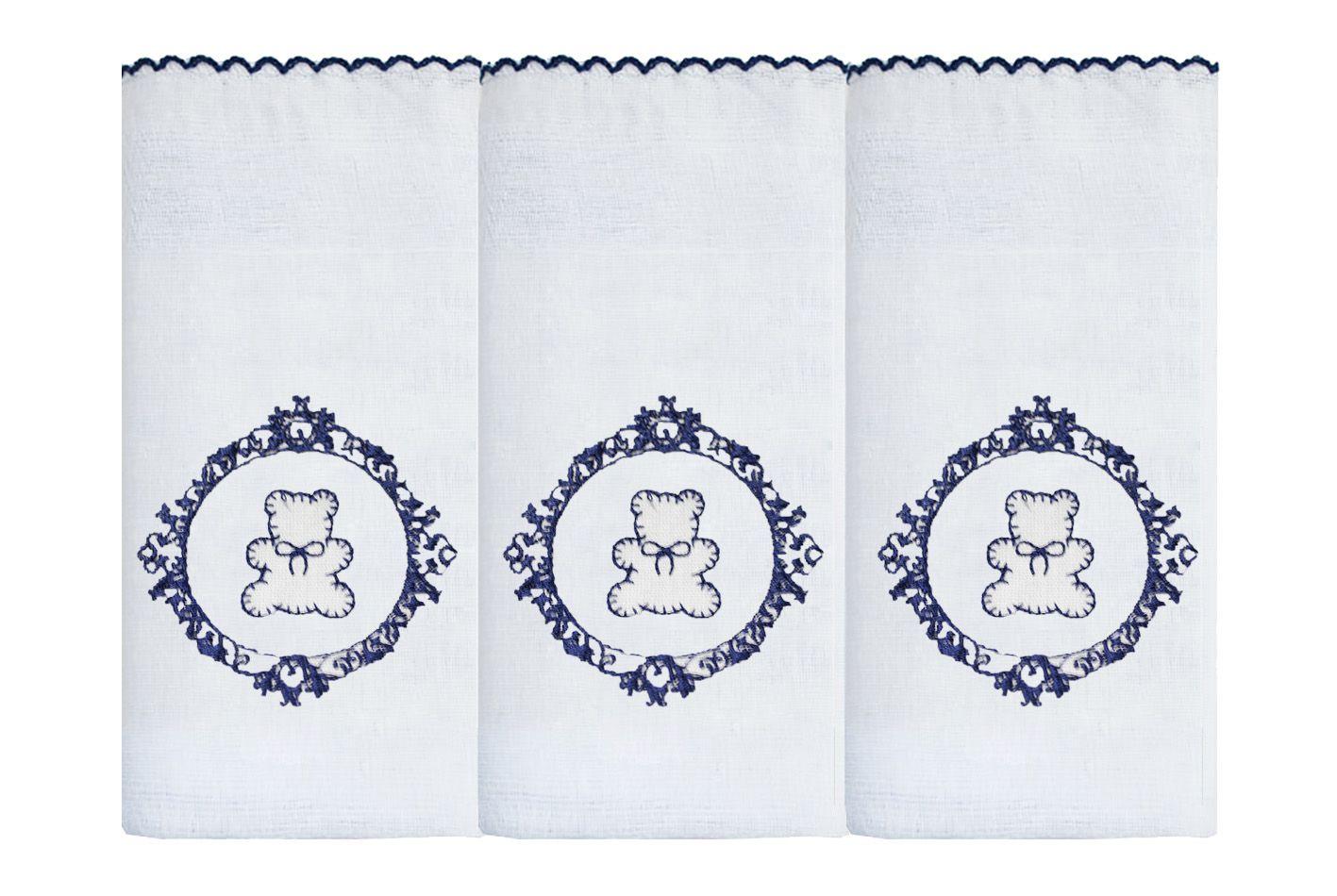 Fralda de Ombro Bord. 03 Pçs - Urso Arabesco Branco