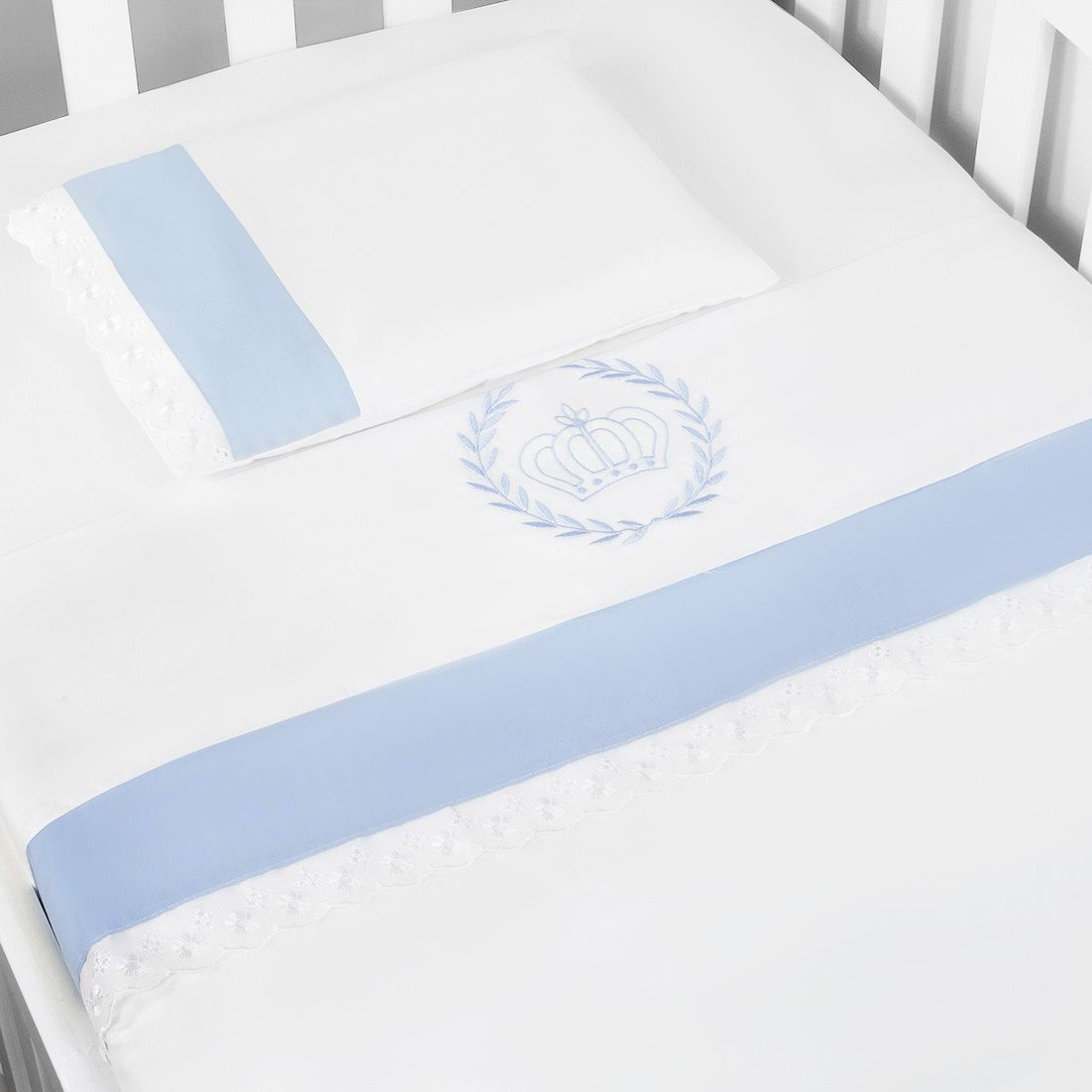 Jg. de Lençol Americ. 03 Pçs - Realeza Azul