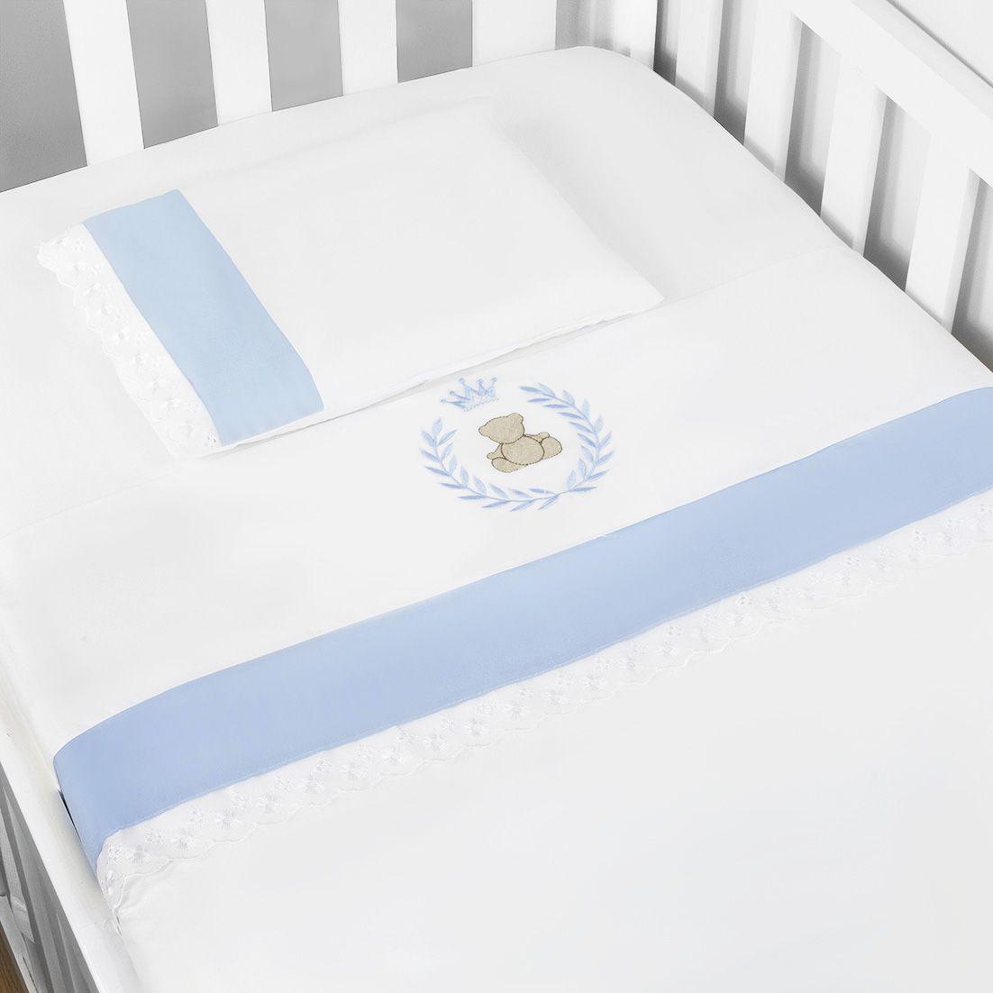 Jg. de Lençol Americ. 03 Pçs - Thed. Azul