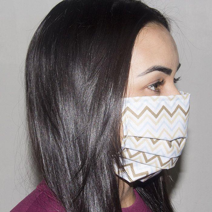 Jogo de Máscara Protetora 07 pçs - Chevron Azul Colorido